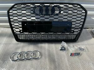 Audi A6 S6 RS6 Style Front Grille Honeycomb Mesh Grill W/ Quattro 2016-2018 C7.5