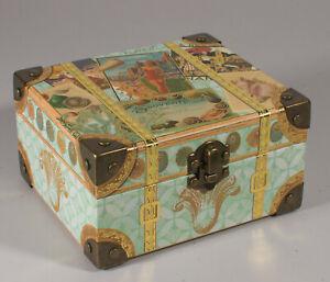 New Punch Studio Decorative Box w/ Scented Soaps-Vintage Beach Scene Metal Latch