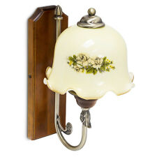 Vintage Wandlampe Retro Leuchte mit Ornamenten Flohmarkt Messing-Optik & Glas