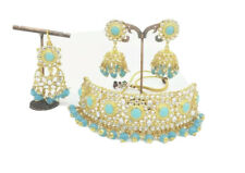 Gg Pakistani Indian Bollywood Blue Choker Necklace Set Earrings Tikka Jewelry