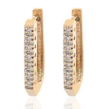 0.20 Carat Round Cut Diamond Hoop/Huggy Earrings 14K Yellow Gold