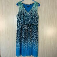 Ann Taylor Sleeveless Fit & Flare Dress Women's Size 12 Blue