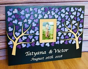 Wedding guest book with photo, Anniversary gift, Guest book alternative big size