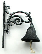 """Large Vine Design 10"""" Wall Mounted Antique-Style Cast Iron Bell"""
