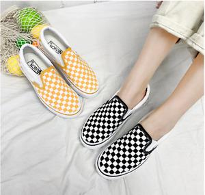 Mens Womens Summer Classic Checkerboard Slip-on Shoes-Black White Plaid UK 3.5-9