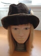 EXCELLENT BROWN CLOTH (FAUX / FAKE FUR) HAT CAP WOMEN WOMAN SIZE ALL