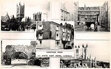 LINCOLN UK GREETINGS FROM THE WHITE HART HOTEL~MULTI IMAGE REAL PHOTO POSTCARD