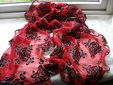 E441 Rosso Nero Argento Floreale Rose Glitter Maglia Sera Donna Sciarpa Pashmina
