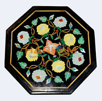 """12"""" Marble Coffee Table Top Precious Floral Malachite Marquetry Inlay Decor B525"""