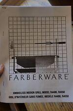 Farberware Open Hearth Broiler Rotisserie Grill R4400 R4550 Manual (Copy)