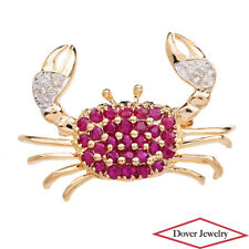 Estate Diamond Ruby 14K Yellow Gold Cancer Crab Pin NR