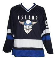 Any Name Number Size Island Iceland Retro Hockey Jersey Navy Blue Stahl