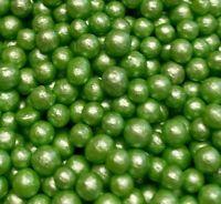 GREEN EDIBLE SUGAR PEARLS SPRINKLES BALLS CAKE DECORATIONS 100s & 1000S