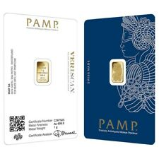 1 gram Gold Bar Pamp Suisse Lady Fortuna Veriscan .9999 Fine (In Assay)