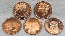 5 Stück 1/4 Unzen Kupferbarren Münze Medaille, aus USA 2011, Reinheit 999.9
