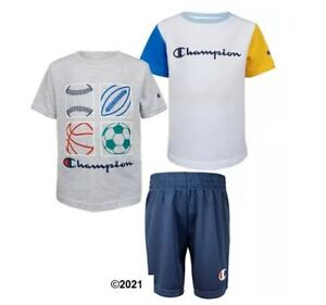 Champion Boys Toddler 3-Piece Gray/Yellow/Blue Set Size 3T