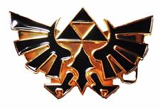 Legends of Zelda Triforce Goldtone Metal and Black Enamel BELT BUCKLE