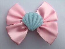 Pastel Pink Mermaid Shell Hair Bow Disney Inspired Fairy Kei Kawaii Lolita