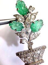 """Antique Art Deco Diamond and Emerald """"Tutti Frutti"""" Platinum Brooch Pendant"""