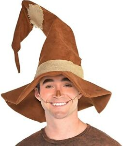Adult Halloween Scarecrow Costume Brown Tattered Burlap Patchwork Pointed Hat