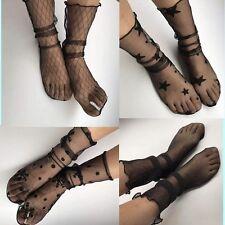 Women Girls Black See Through Casual Socks Elastic Glitter Mesh Ankle Socks Chic