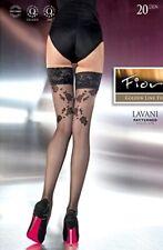 Fiore Lavani patterned Hold-Ups Large Black 20 DEN Womens Lingerie Stockings