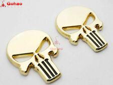 2x Real Metal 3D Stainless Steel Emblem Skull/Skeleton/Reaper Decal Chrome Gold