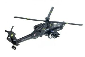 """8"""" AH-64 Apach Helicopter Diecast Army Military Model Fighter Airplane Toy Black"""