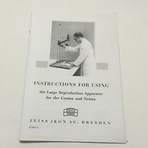 ZEISS IKON INSTRUCTIONS MANUAL-COPY- FOR USING THE LARGE REPRODUCTION APPARATUS