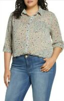 Vince Camuto Women's Plus Size 3X Floral Button-Down Sheer Blouse Top $99 NWT