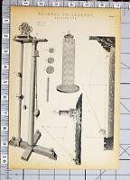 1886 Stampa Naturale Filosofia Gravitazione Macchine Vari Esempi