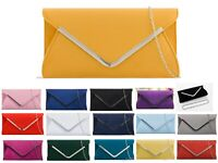 Plain Suede Wedding Ladies Party Prom Evening Clutch Hand Bag Purse Hand Bag UK