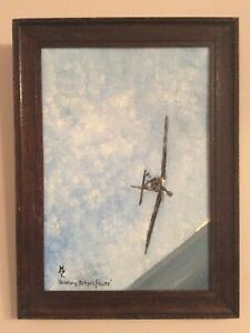 Original Oil Painting, Spitfire, Battle of Britain, Signed And Framed.