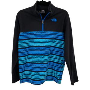 The North Face Youth Boys XL 18/20 Black Blue Fleece 1/4 Zip Pullover Sweatshirt