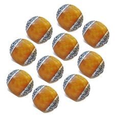 Wholesale 10 Big Nepal Beeswax Amber 925 Sterling Silver Repousse Amulet Beads