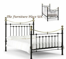 VICTORIA METAL BED FRAME IN SATIN BLACK & BRASS 3ft SINGLE 4ft 6  DOUBLE