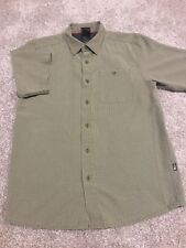 Mens The North Face Olive Green Plaid Short Sleeve Button Up Size S