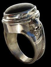 Sterling Silver Pillbox Skull Poison Ring Onyx All Sizes Locket Pill