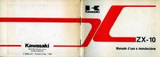 """"""" KAVASAKI : MANUALE D'USO e MANUTENSIONE  MODELLO  ZX -10 """""""