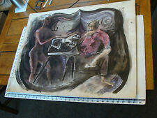 Vintage art by ROBERT MOIR in pen: NUDE GIRL sculpts, man thinks, about f*** her