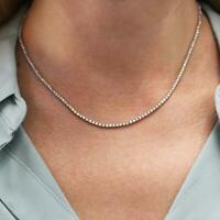 4.5 ctw Natural Diamond (G-H, SI) 14k White Gold Thin Tennis Necklace 17 Inches