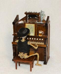 "Miniature Skeleton ""PIANO MAN w/ WOOD SHACKMAN PIANO""-OOAK-Artist-Eyes & hair"