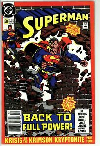 Superman #50 FN/VF DC (1990) -Unofficial Marvel Crossover -Newsstand