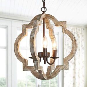 KSANA Farmhouse Orb Chandelier Handmade Wood Light Fixture Dining & Living Room
