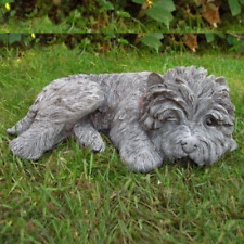More details for sleeping terrier small garden ornament