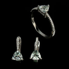 Unheated Trilliant Blue Aquamarine 6mm Cz 925 Sterling Silver Set Earring Ring 7
