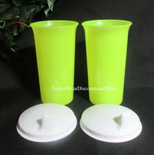 Tupperware NEW Set 2 -10 oz. Large Bell Tumbler & Sippy Seal Neon White Seals