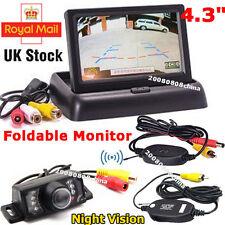 "Wireless IR Reversing Camera+4.3"" Foldable LCD Monitor Car Rear View Parking Kit"