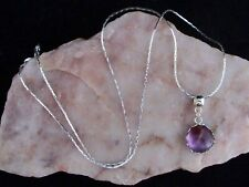Amethyst 12mm Cabochon, 925 Sterling Silver Chain Necklace.Handmade In Gift Box