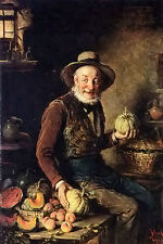 Perfect Oil painting hermann kern - the pumpkin seller old man portrait canvas